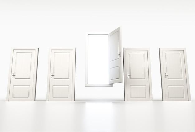 チャンスと機会の概念。閉じた白いドアの列。開いたものを通して輝く光。 3dレンダリング