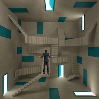 Концепция путаницы и сложности с бизнесменом в комнате, полной дверей и лестниц