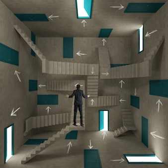 Концепция путаницы и сложности с бизнесменом в комнате, полной дверей, лестниц и стрел