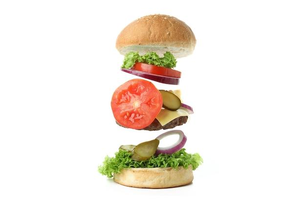 햄버거 요리의 개념 흰색 배경에 고립