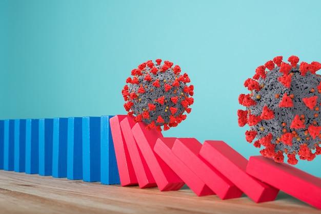Концепция пандемии коронавируса covid19 с падающей цепью, как игра в домино. заражение и прогрессирование инфекции. голубая стена