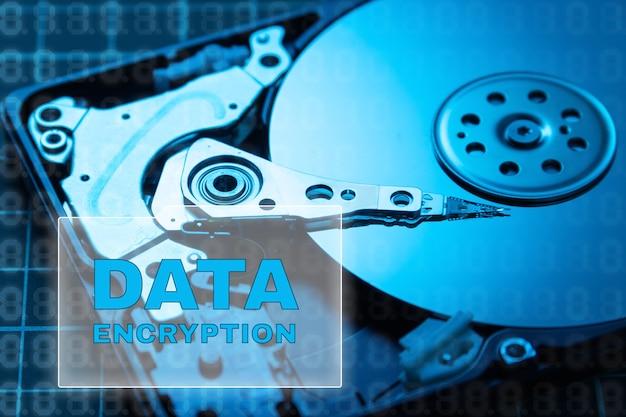 データセキュリティの概念。データ暗号化hdd。