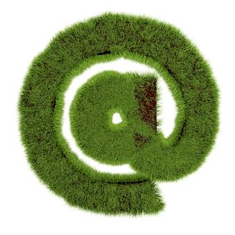 電子メールシンボルの概念は、白い背景の草で覆われています-3dイラスト。