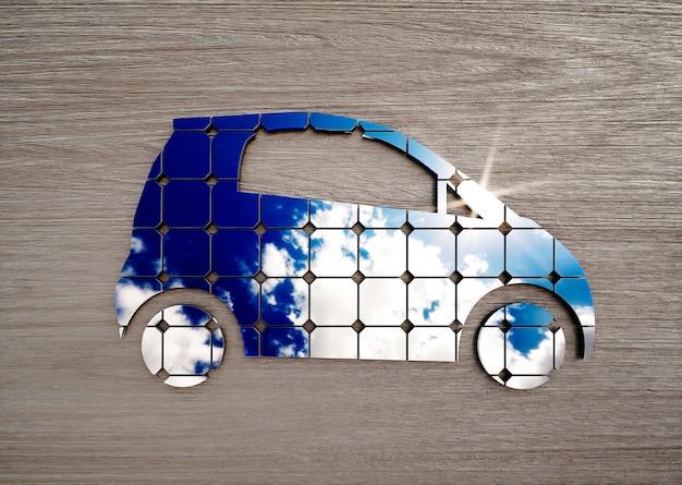 Концепция экологически чистого транспорта на столе из темного дерева. 3d иллюстрации.
