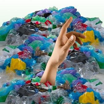 생태 재해, 환경 오염, 쓰레기의 개념. 플라스틱을 중지합니다. 텍스트 또는 광고를 삽입할 음수 공간입니다. 현대적인 디자인. 현대적인 화려하고 밝은 아트 콜라주. 특이한 모습.