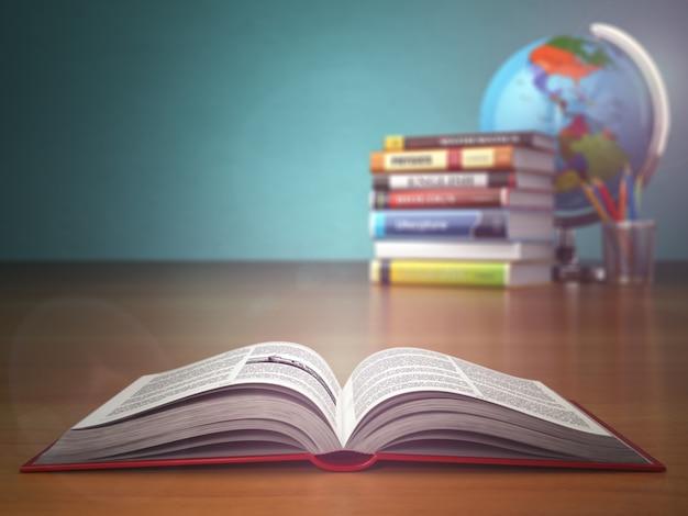 녹색 빈티지 배경에 연필과 글로브 교육 오픈 책의 개념