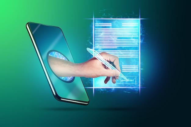 Понятие электронной подписи, бизнес на расстоянии, изображение телефона и голограммы контракта и руки с ручкой для подписи. удаленное сотрудничество, онлайн-бизнес. смешанная техника.