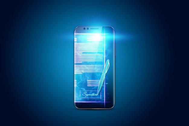 電子署名の概念、離れた場所でのビジネス、電話の画像、契約書のホログラム。リモートコラボレーション、オンラインビジネス、コピースペース。ミクストメディア。 3dイラスト、3dレンダリング。