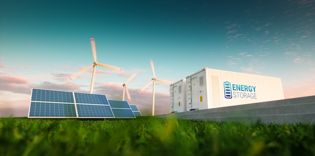 Концепция системы хранения энергии. возобновляемая энергия - фотоэлектрические, ветряные турбины и литий-ионный аккумулятор в утренней свежей природе. 3d-рендеринг.