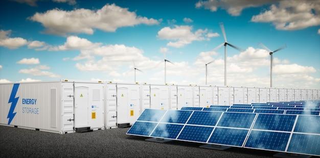 에너지 저장 시스템의 개념입니다. 재생 에너지 발전소 - 태양광 발전, 풍력 터빈 농장 및 배터리 컨테이너. 3d 렌더링.