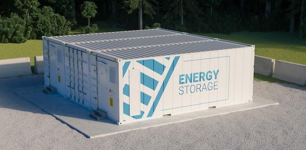 배터리와 연결된 여러 컨테이너로 구성된 에너지 저장 장치의 개념입니다. 3d 붉어짐.
