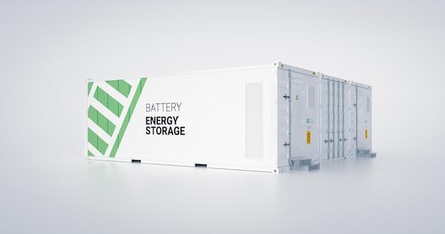 에너지 저장 장치의 개념 - 배터리가 있는 여러 개의 연결된 컨테이너. 3d 렌더링.