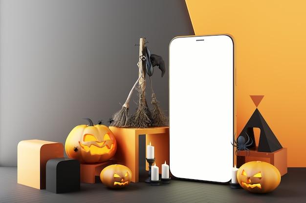 검은색과 주황색 패턴 배경에 흰색 화면이 있는 스마트폰 주위에 유령, 호박 머리, 촛불, 빗자루, 마녀 모자의 개념, 할로윈 소셜 온라인 3d 렌더링 그림