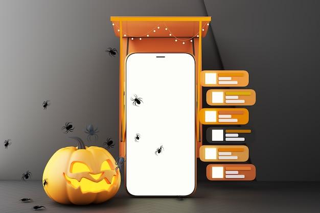 유령, 호박 머리, 검은 패턴 배경에 흰색 화면이 있는 스마트폰 주위의 거미, 할로윈 소셜 온라인 3d 렌더링 그림의 개념
