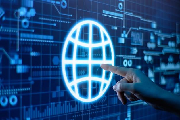 그것을 가리키는 손가락으로 디지털 디스플레이에서 세계화의 개념