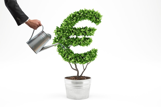 グリーン経済の概念。お金のシンボルで植物。 3dレンダリング