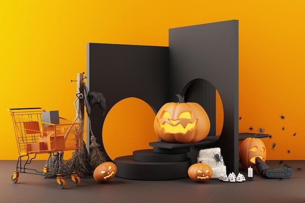 검은색과 주황색 패턴 배경, 3d 렌더링 그림에 할로윈 유령, 호박 머리 및 쇼핑 카트 구성의 개념