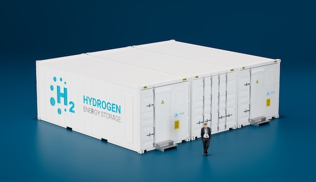 Концепция высокотехнологичного мобильного водородного хранилища энергии из морских контейнеров. 3d-рендеринг.