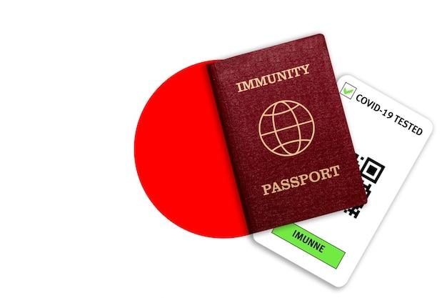 コロナウイルスに対する免疫の概念。日本の国旗のcovid-19の免疫パスポートとテスト結果。