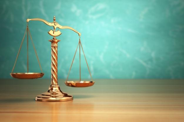 Понятие справедливости. весы закона на зеленом фоне. 3d