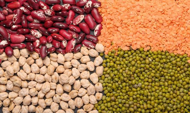 マメ科植物の概念ひよこ豆レンズ豆豆マッシュタンパク質植物表面上面図クローズアップ