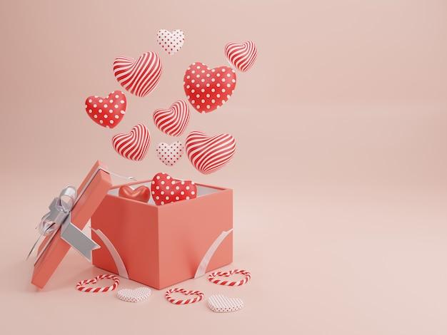 Концепция любви и счастливого дня святого валентина, формы сердца с подарочной коробкой, плавающей на заднем плане. 3d-рендеринг, иллюстрация.
