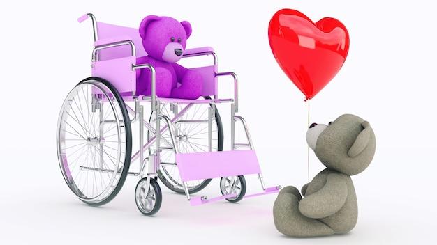 사랑의 개념 붉은 마음으로 휠체어에 두 곰