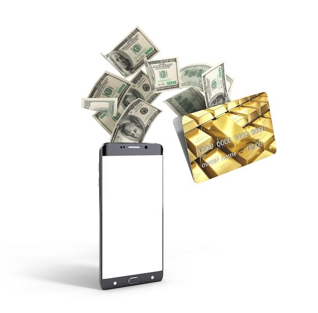 모바일 뱅킹 돈의 개념은 전화 3d 렌더링에 은행 카드를 날아