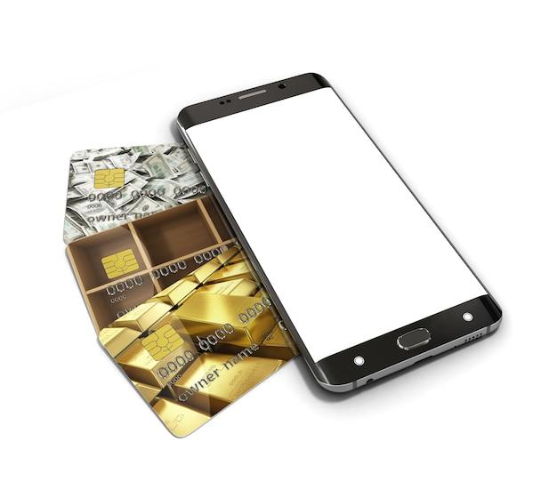 은행 신용 카드에 누워 흰색 화면 스마트 폰 모바일 뱅킹의 개념 3d 렌더링