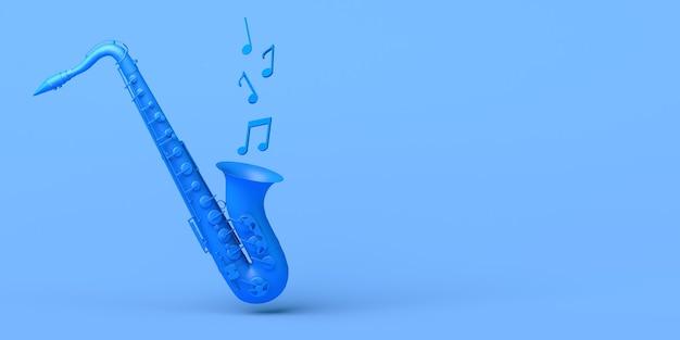 음악의 개념입니다. 음표를 연주하는 색소폰. 공간을 복사합니다. 3d 그림입니다.
