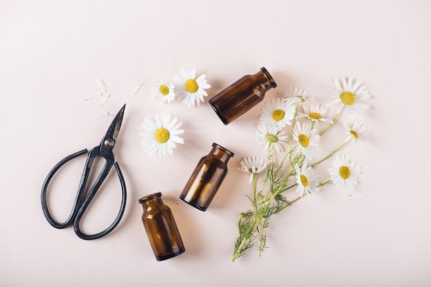 自然化粧品と癒しのハーブの概念、上面図