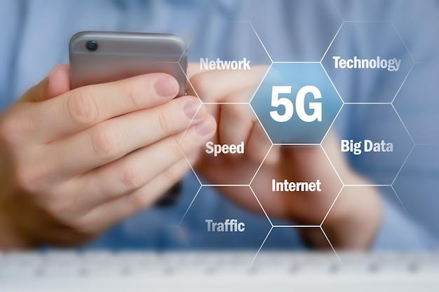 スマートフォンを持つ人の背景に新しい5gモバイルネットワークの概念。