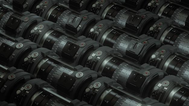 黒の背景に分離されたレンズを持つ存在しないデジタル一眼レフカメラの概念。自然、動物、都市のプロの写真の3dレンダリング