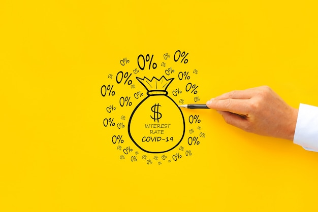 Концепция предоставления кредитов во время пандемии covid-19 с процентной ставкой 0 процентов.