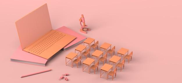 노트북 3d 그림 앞에 온라인 교육 원격 학습 책상의 개념