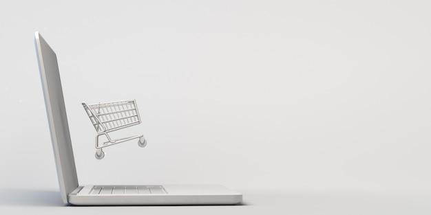 온라인 쇼핑의 개념입니다. 노트북에 떠 있는 쇼핑 카트. 3d 그림입니다. 배너. 전자상거래.