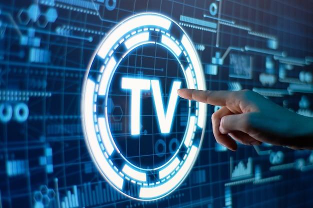 미래의 디지털 디스플레이에 온라인 텔레비전의 개념.