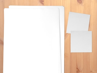 Concept of paper theme presentation with empty space. Paper and notes.