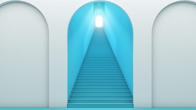 Концепция пути к месту назначения, лестница к успеху, 3d визуализация, шаг к успеху