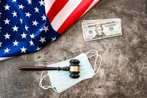 Концепция проблем с правосудием во время пандемии covid19 в америке.