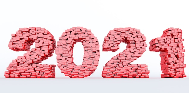 2021 년 새해 복 많이 받으세요 2021 년을 형성하는 붉은 벽돌의 개념. 3d 렌더링