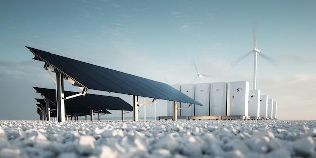 신 재생 에너지 저장 3d 렌더링의 개념