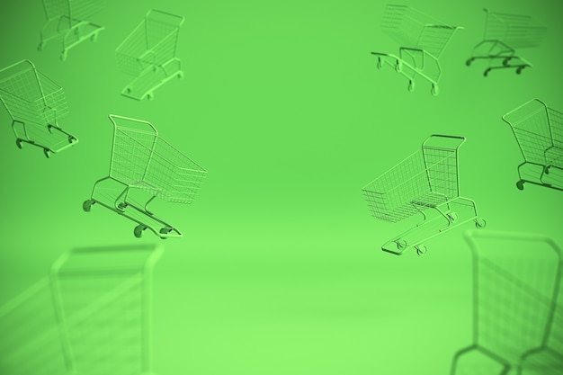Концепция тележки для покупок на зеленом фоне с копией пространства. 3d иллюстрация