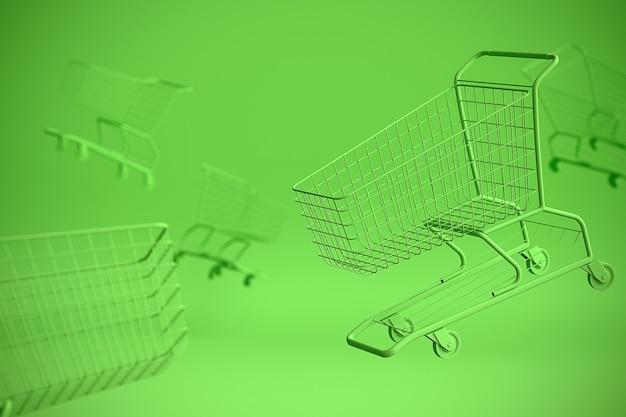 いくつかのコピースペースと緑の背景にショッピングカートトロリーの概念。 3dイラスト