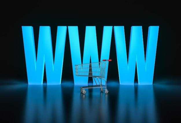Концепция покупок в интернете. большие светящиеся буквы www и корзина на черном. 3d визуализация