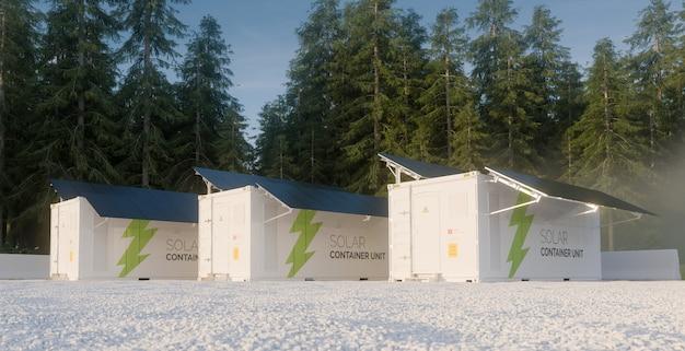 Концепция солнечных контейнеров, расположенных в лесной среде. 3d иллюстрации.