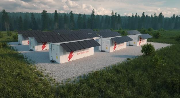 Концепция солнечных контейнерных единиц, расположенных в свежей природе с травой на переднем плане и лесом на заднем плане. поздний вечерний свет. с высоты птичьего полета. 3d иллюстрация
