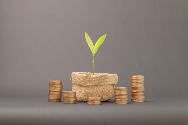 Концепция сложенных монет финансы для роста доходов, инвестирования в акции, торговли, экономии денег