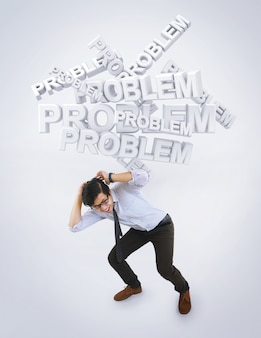 Concept of Stressed Asian Man by Problem