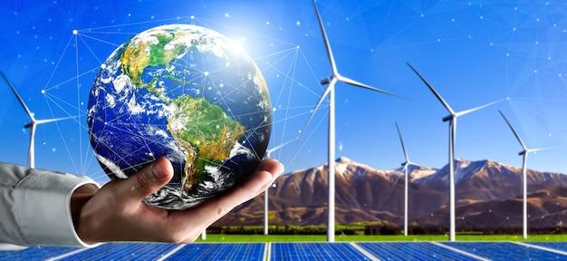 대체 에너지에 의한 지속 가능성의 개념.